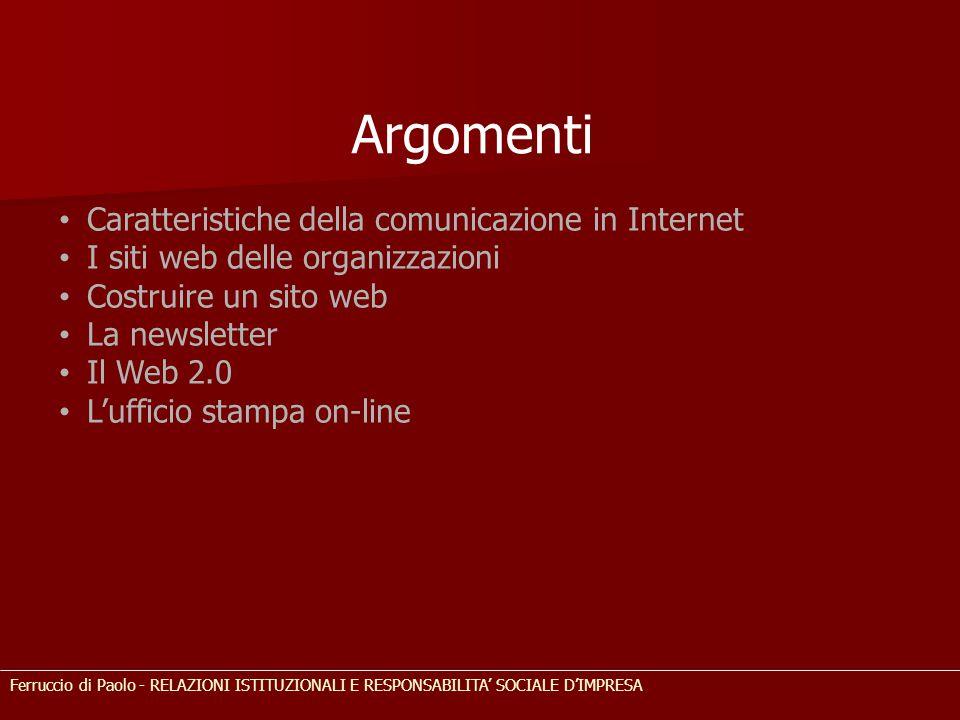 Argomenti Caratteristiche della comunicazione in Internet