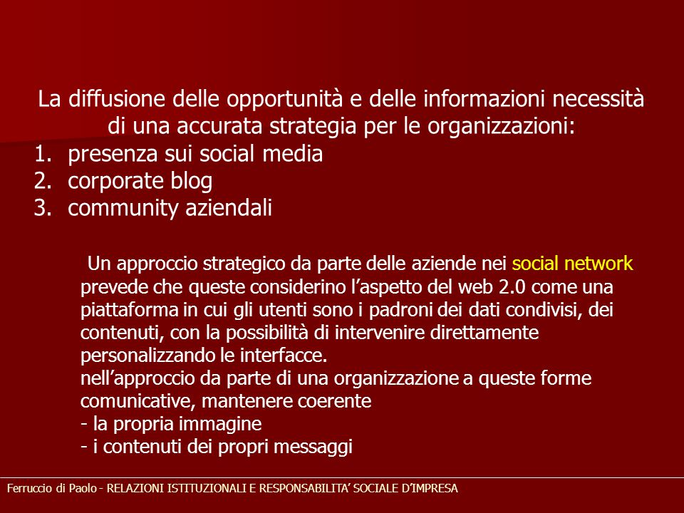 presenza sui social media corporate blog community aziendali