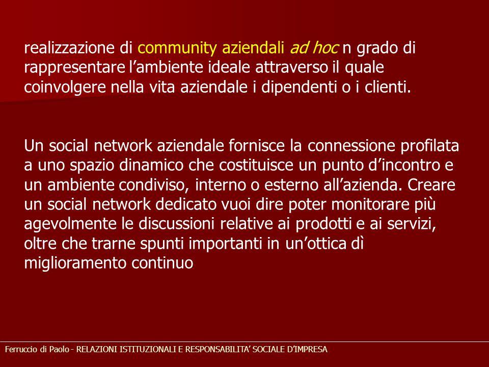 realizzazione di community aziendali ad hoc n grado di rappresentare l'ambiente ideale attraverso il quale coinvolgere nella vita aziendale i dipendenti o i clienti.