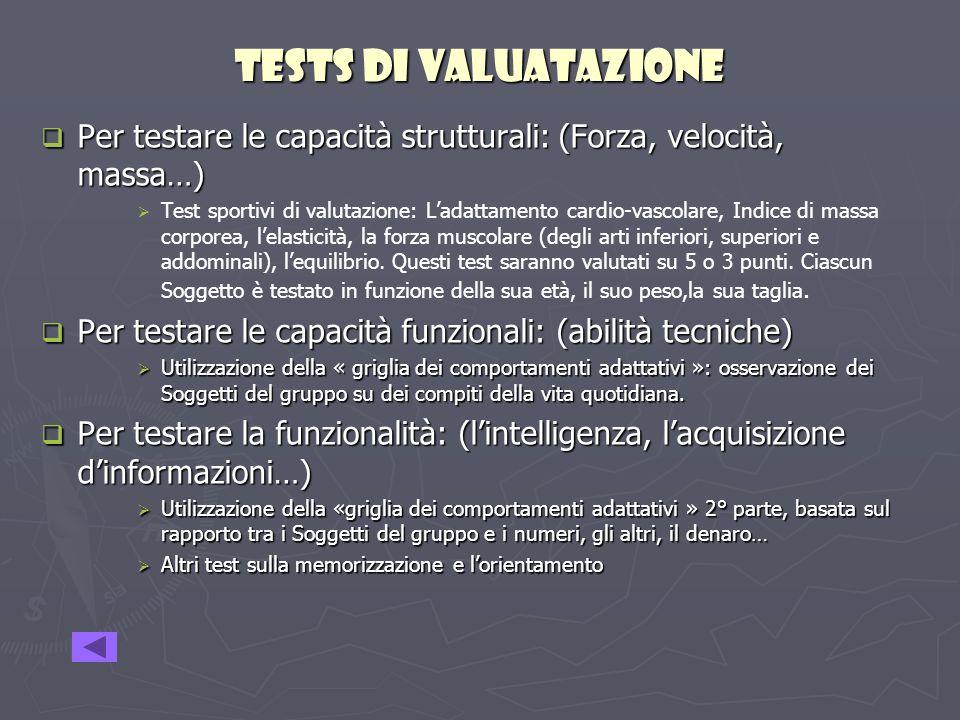 TESTS Di VALUAtazIONe Per testare le capacità strutturali: (Forza, velocità, massa…)