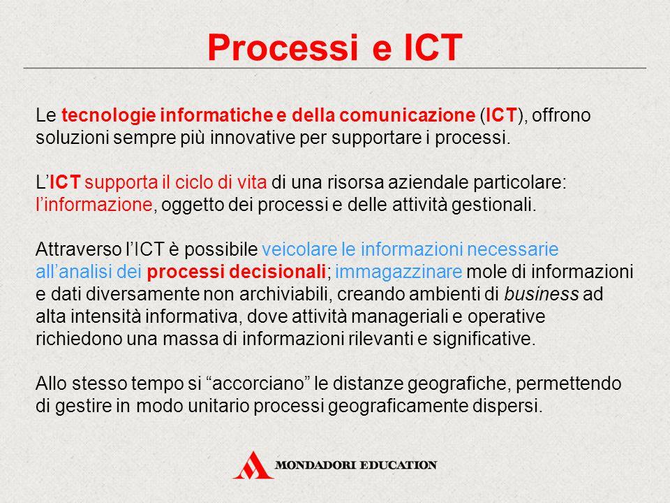Processi e ICT Le tecnologie informatiche e della comunicazione (ICT), offrono soluzioni sempre più innovative per supportare i processi.