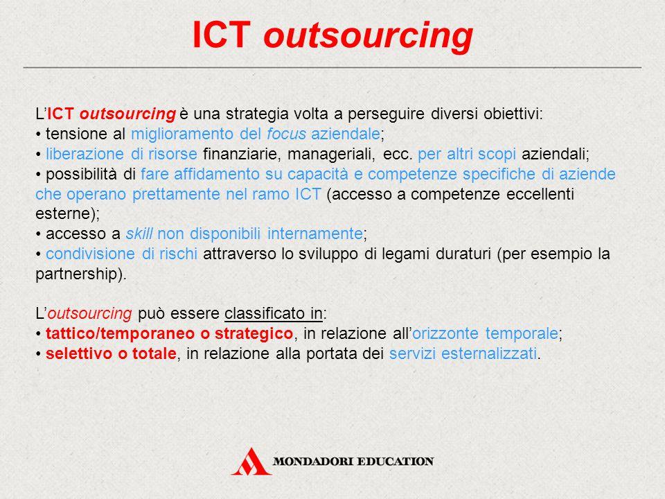 ICT outsourcing L'ICT outsourcing è una strategia volta a perseguire diversi obiettivi: • tensione al miglioramento del focus aziendale;
