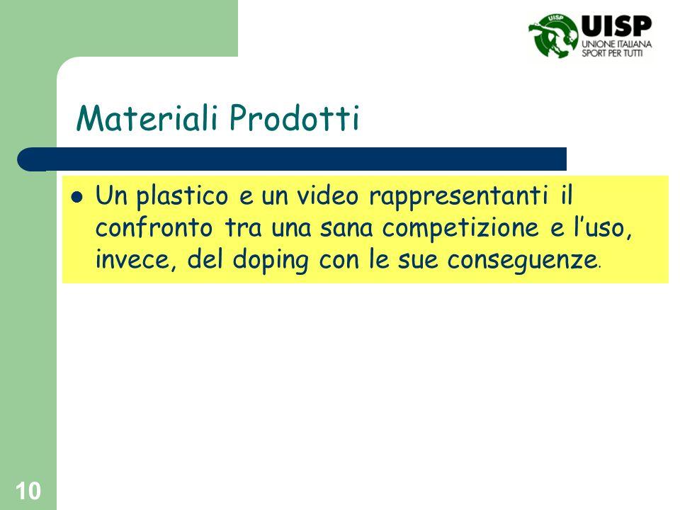 Materiali Prodotti Un plastico e un video rappresentanti il confronto tra una sana competizione e l'uso, invece, del doping con le sue conseguenze.