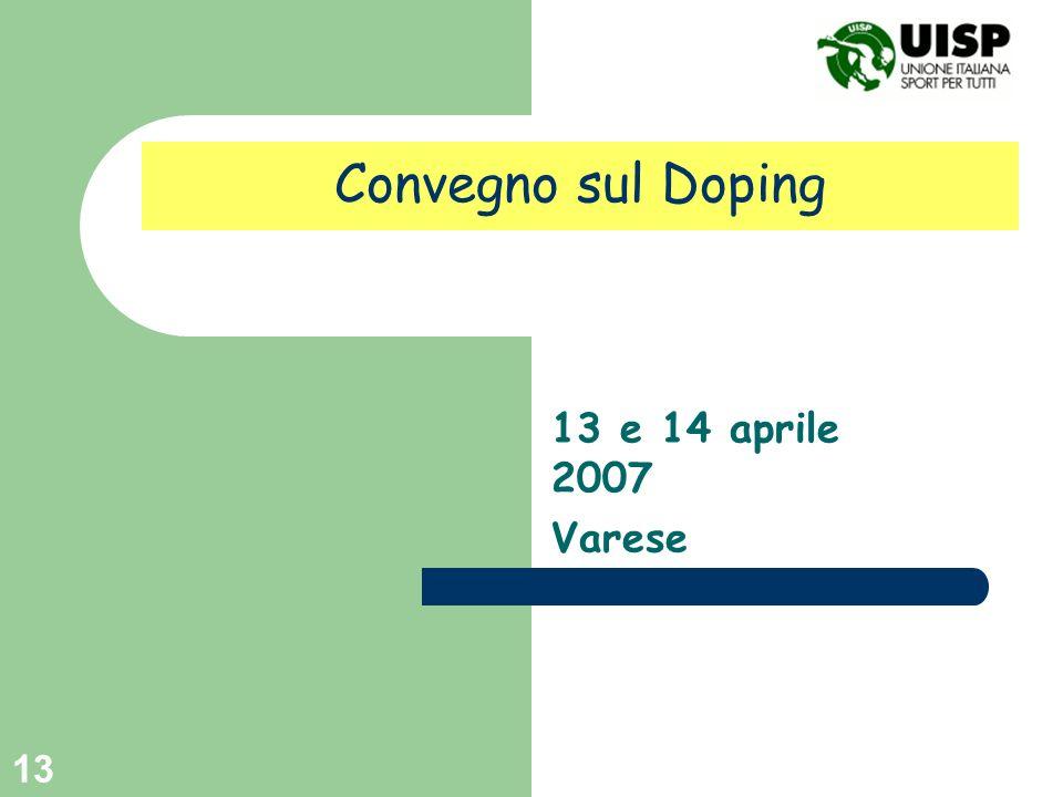 Convegno sul Doping 13 e 14 aprile 2007 Varese