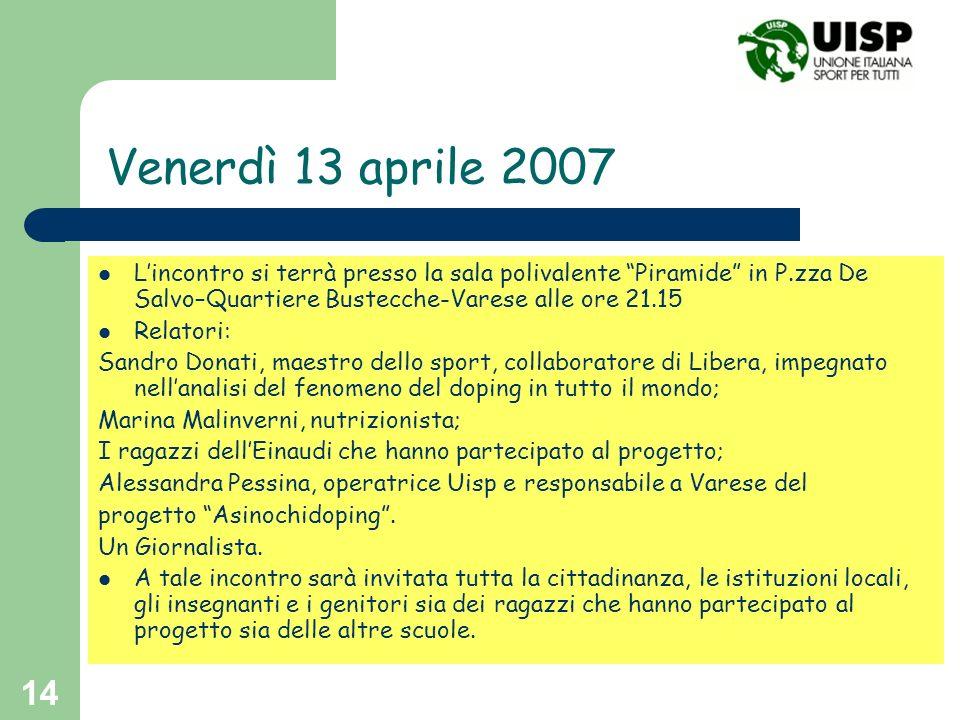 Venerdì 13 aprile 2007 L'incontro si terrà presso la sala polivalente Piramide in P.zza De Salvo–Quartiere Bustecche-Varese alle ore 21.15.