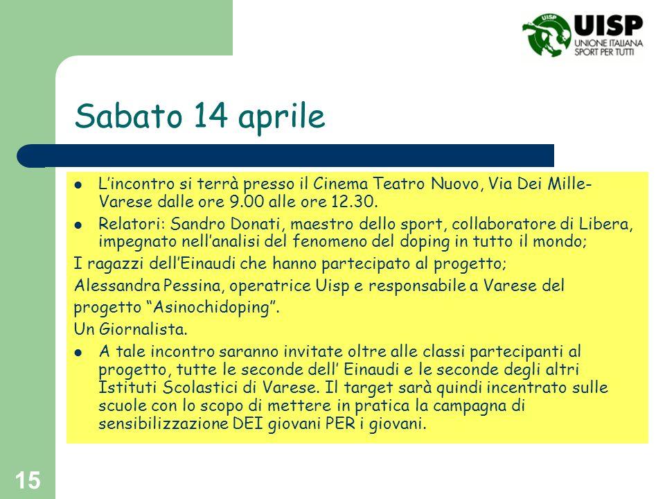Sabato 14 aprile L'incontro si terrà presso il Cinema Teatro Nuovo, Via Dei Mille-Varese dalle ore 9.00 alle ore 12.30.