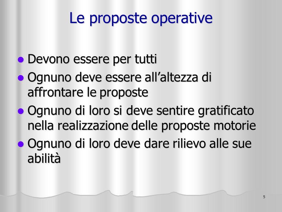 Le proposte operative Devono essere per tutti