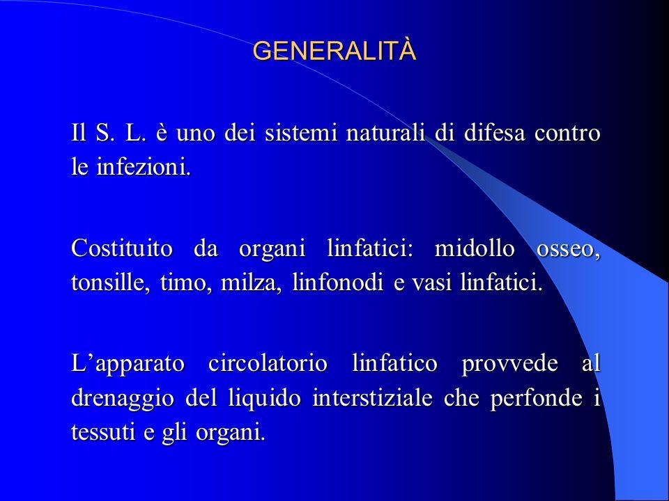 GENERALITÀ Il S. L. è uno dei sistemi naturali di difesa contro le infezioni.