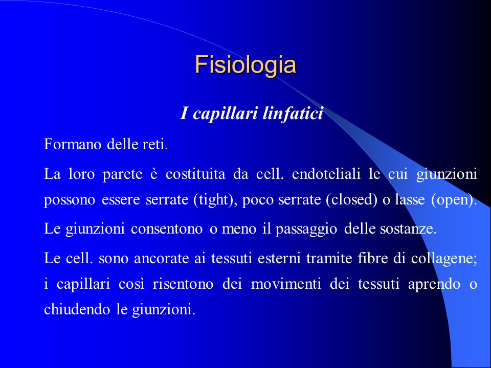 Fisiologia I capillari linfatici