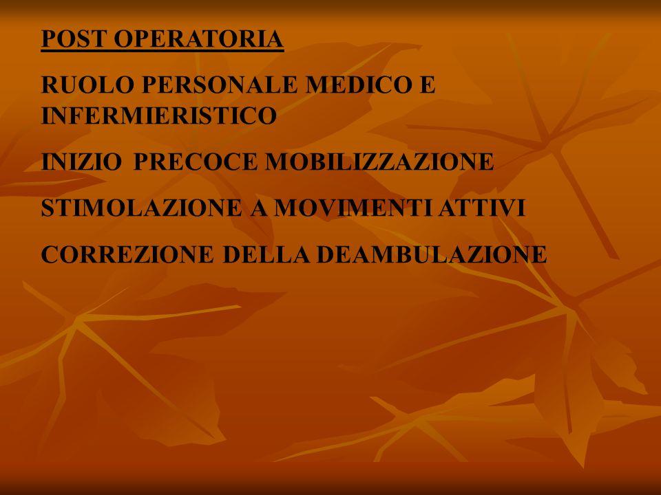 POST OPERATORIA RUOLO PERSONALE MEDICO E INFERMIERISTICO. INIZIO PRECOCE MOBILIZZAZIONE. STIMOLAZIONE A MOVIMENTI ATTIVI.