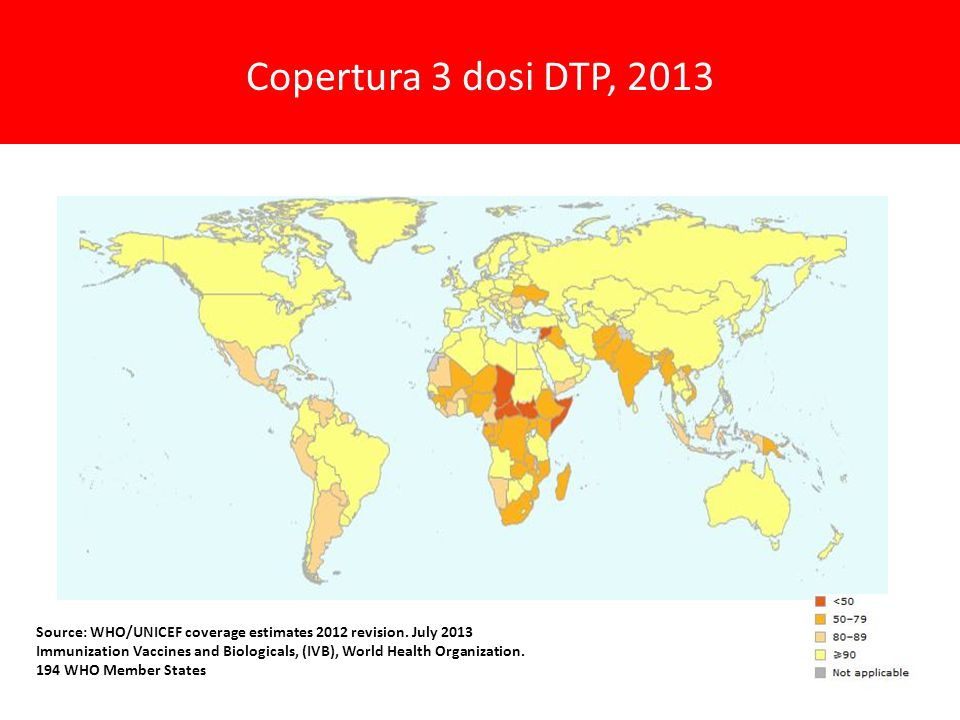 Copertura 3 dosi DTP, 2013. Source: WHO/UNICEF coverage estimates 2012 revision. July 2013.