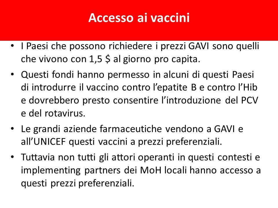 Accesso ai vaccini I Paesi che possono richiedere i prezzi GAVI sono quelli che vivono con 1,5 $ al giorno pro capita.