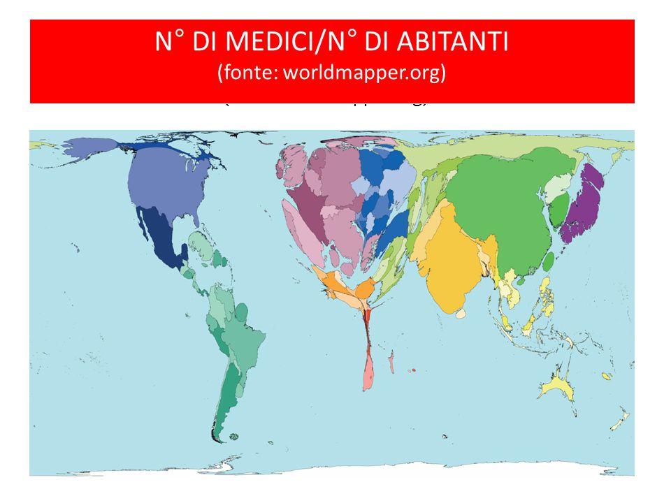 N° di medici/N° di abitanti (fonte: worldmapper.org)