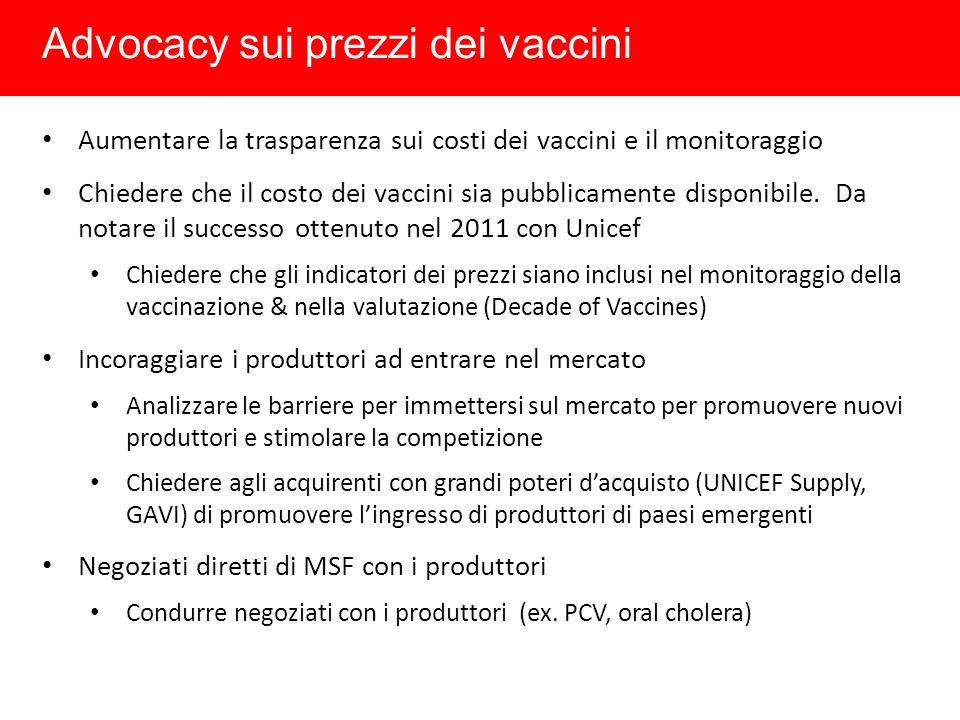 Advocacy sui prezzi dei vaccini
