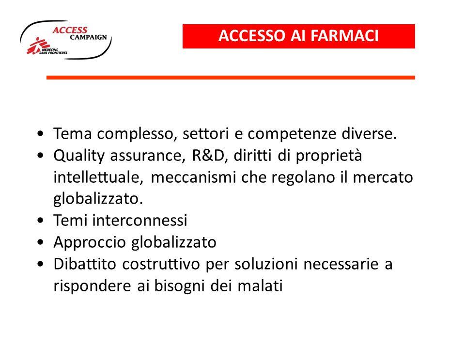 ACCESSO AI FARMACI Tema complesso, settori e competenze diverse.