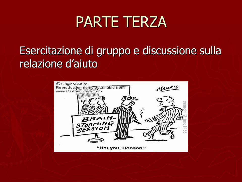 PARTE TERZA Esercitazione di gruppo e discussione sulla relazione d'aiuto