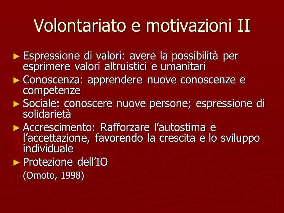 Volontariato e motivazioni II