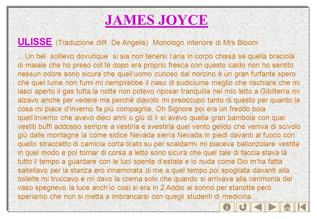 JAMES JOYCE ULISSE (Traduzione diR. De Angelis) Monologo interiore di Mrs Bloom.