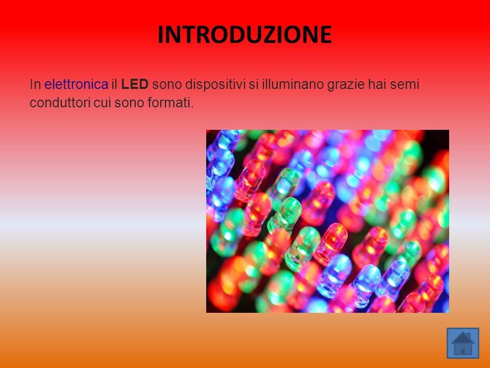 INTRODUZIONE In elettronica il LED sono dispositivi si illuminano grazie hai semi conduttori cui sono formati.