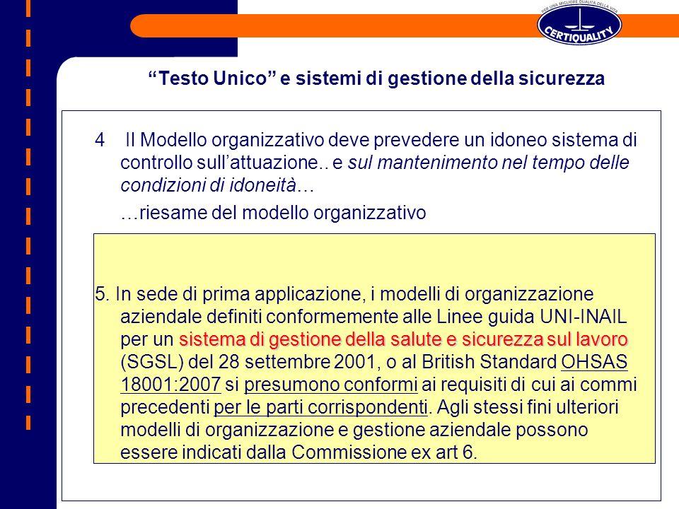 Testo Unico e sistemi di gestione della sicurezza