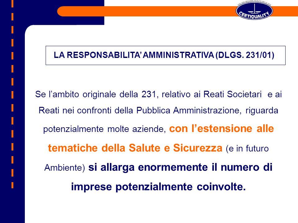 LA RESPONSABILITA' AMMINISTRATIVA (DLGS. 231/01)