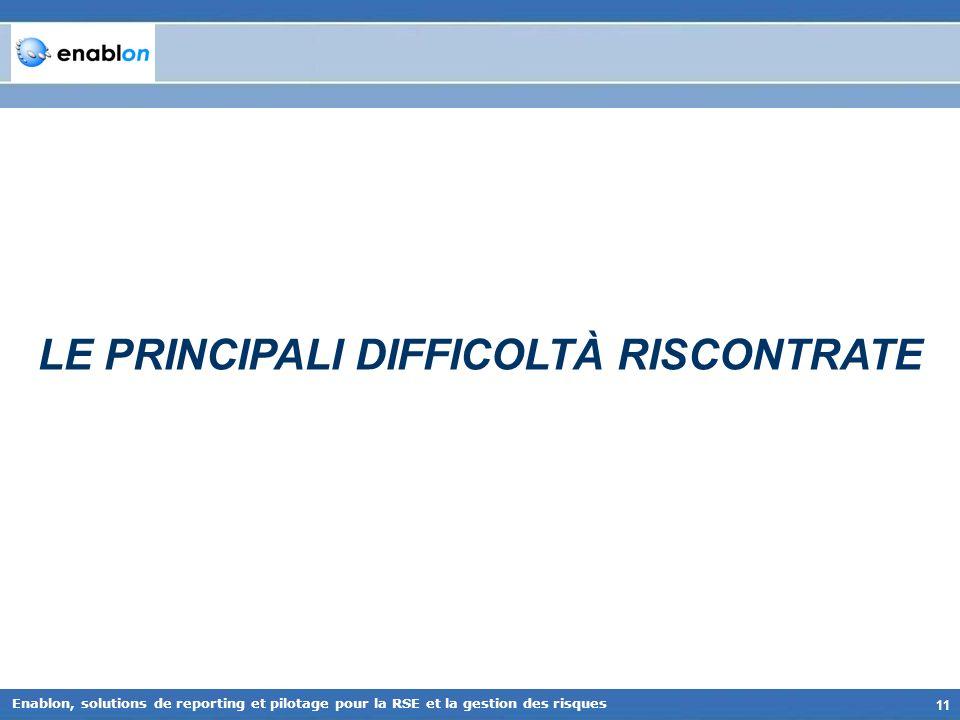 LE PRINCIPALI DIFFICOLTÀ RISCONTRATE