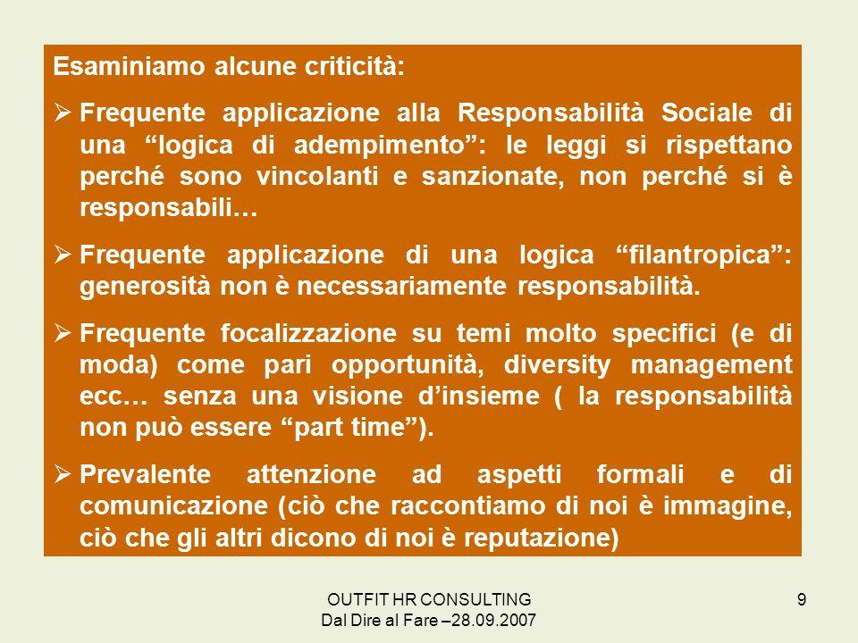 Esaminiamo alcune criticità: