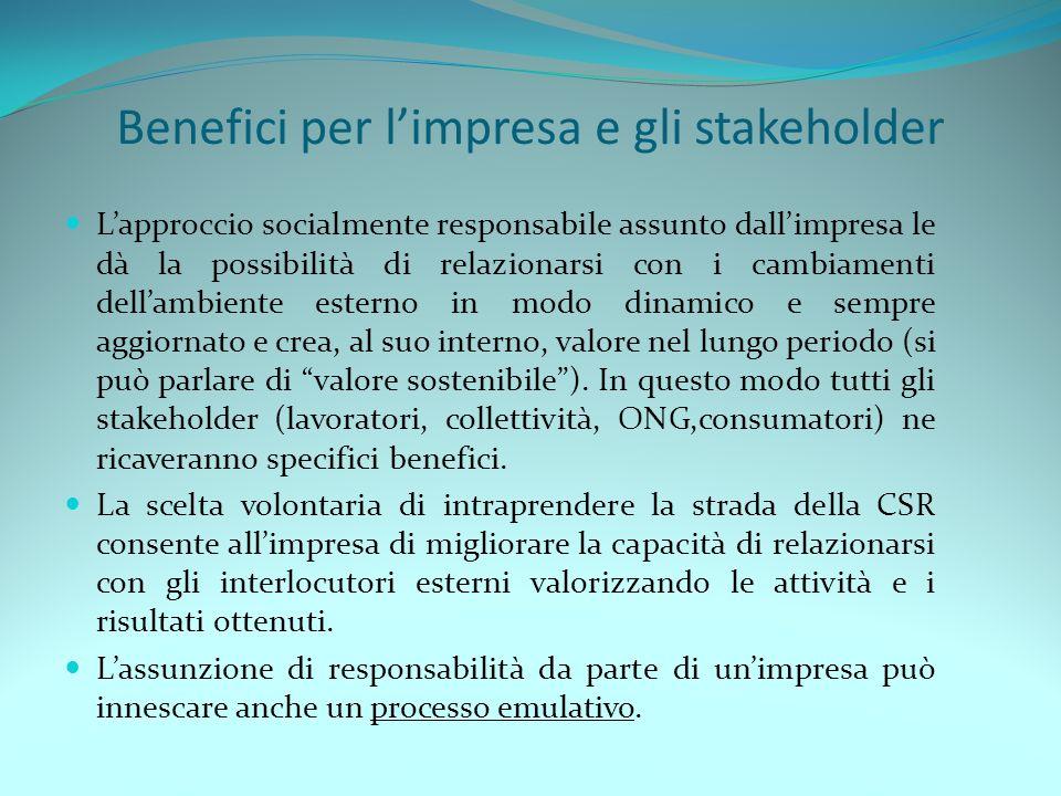 Benefici per l'impresa e gli stakeholder