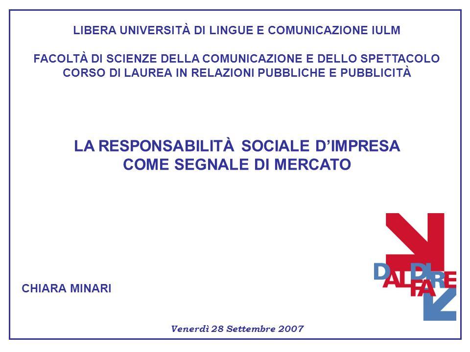 LA RESPONSABILITÀ SOCIALE D'IMPRESA COME SEGNALE DI MERCATO