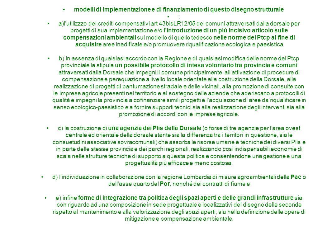 modelli di implementazione e di finanziamento di questo disegno strutturale