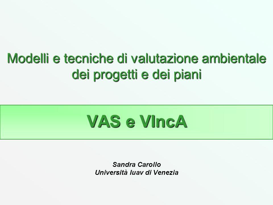 Modelli e tecniche di valutazione ambientale dei progetti e dei piani VAS e VIncA Sandra Carollo Università Iuav di Venezia
