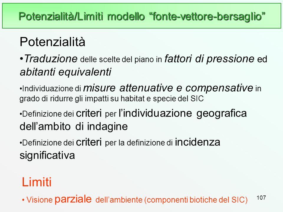 Potenzialità/Limiti modello fonte-vettore-bersaglio
