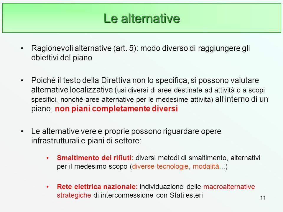 Le alternative Ragionevoli alternative (art. 5): modo diverso di raggiungere gli obiettivi del piano.