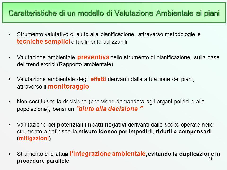 Caratteristiche di un modello di Valutazione Ambientale ai piani