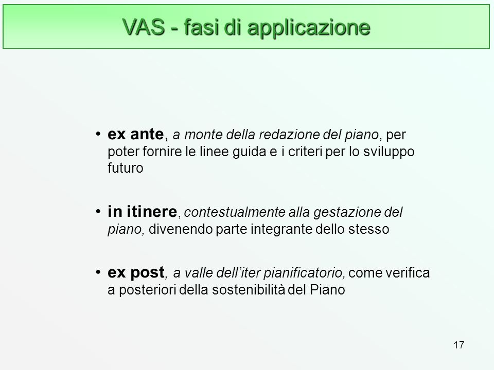 VAS - fasi di applicazione