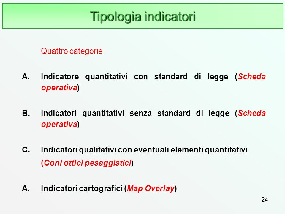Tipologia indicatori Quattro categorie