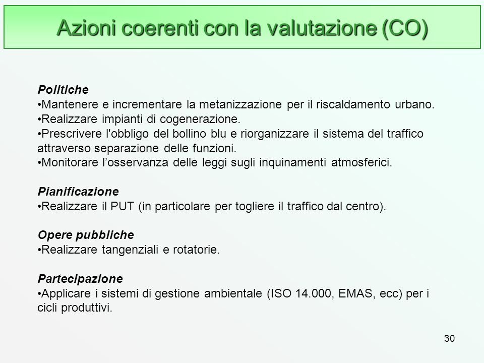 Azioni coerenti con la valutazione (CO)