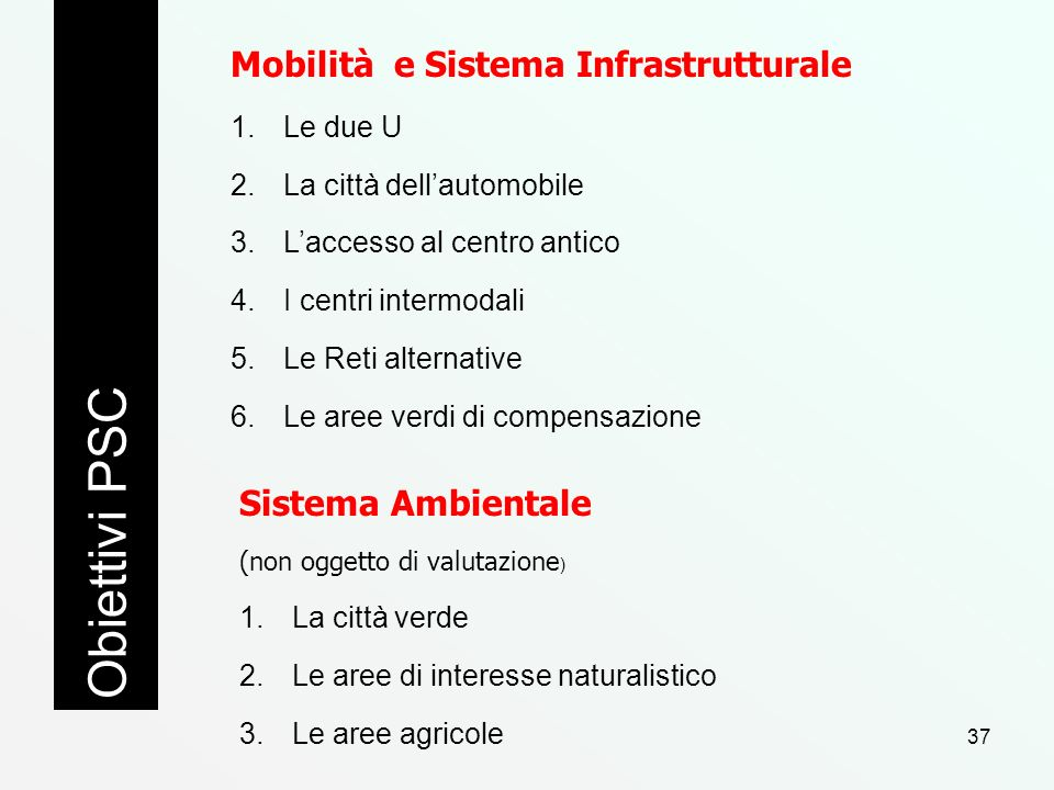 Obiettivi PSC Mobilità e Sistema Infrastrutturale Sistema Ambientale