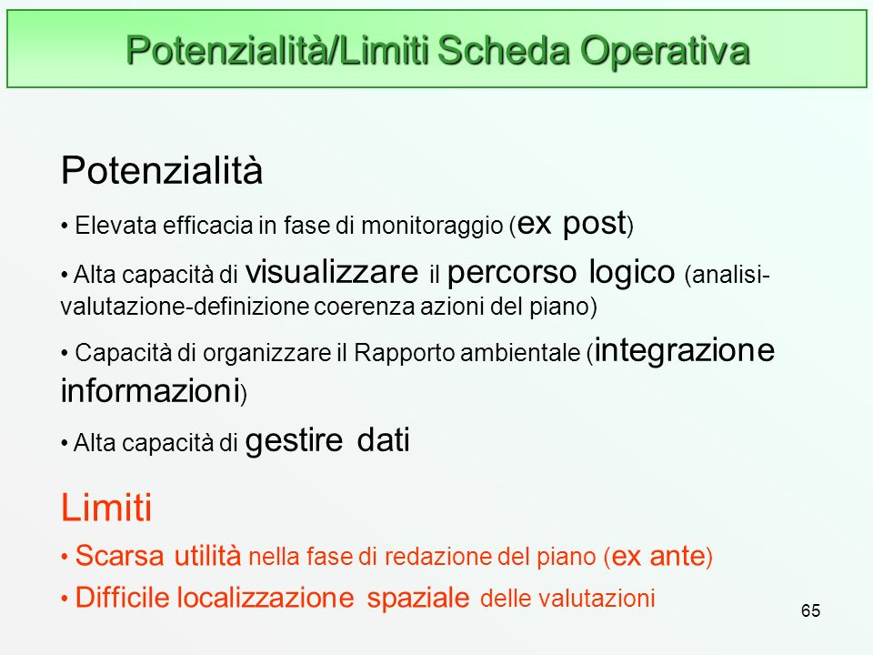 Potenzialità/Limiti Scheda Operativa