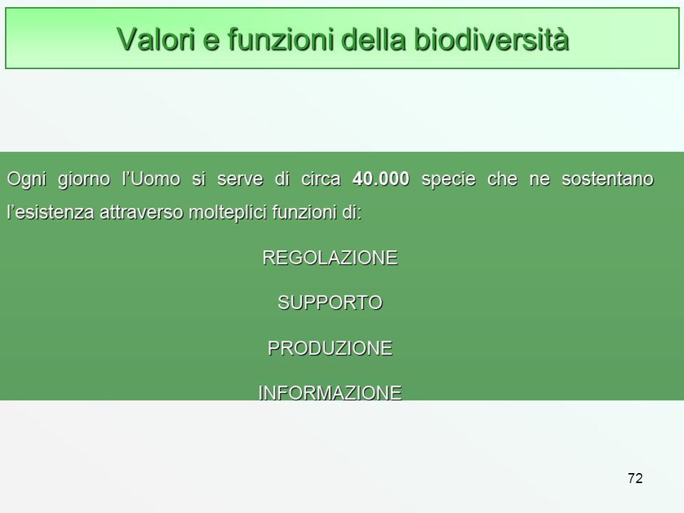 Valori e funzioni della biodiversità