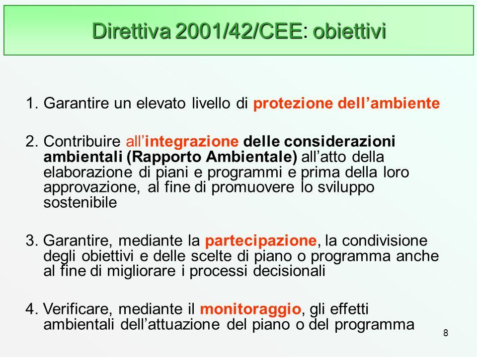 Direttiva 2001/42/CEE: obiettivi
