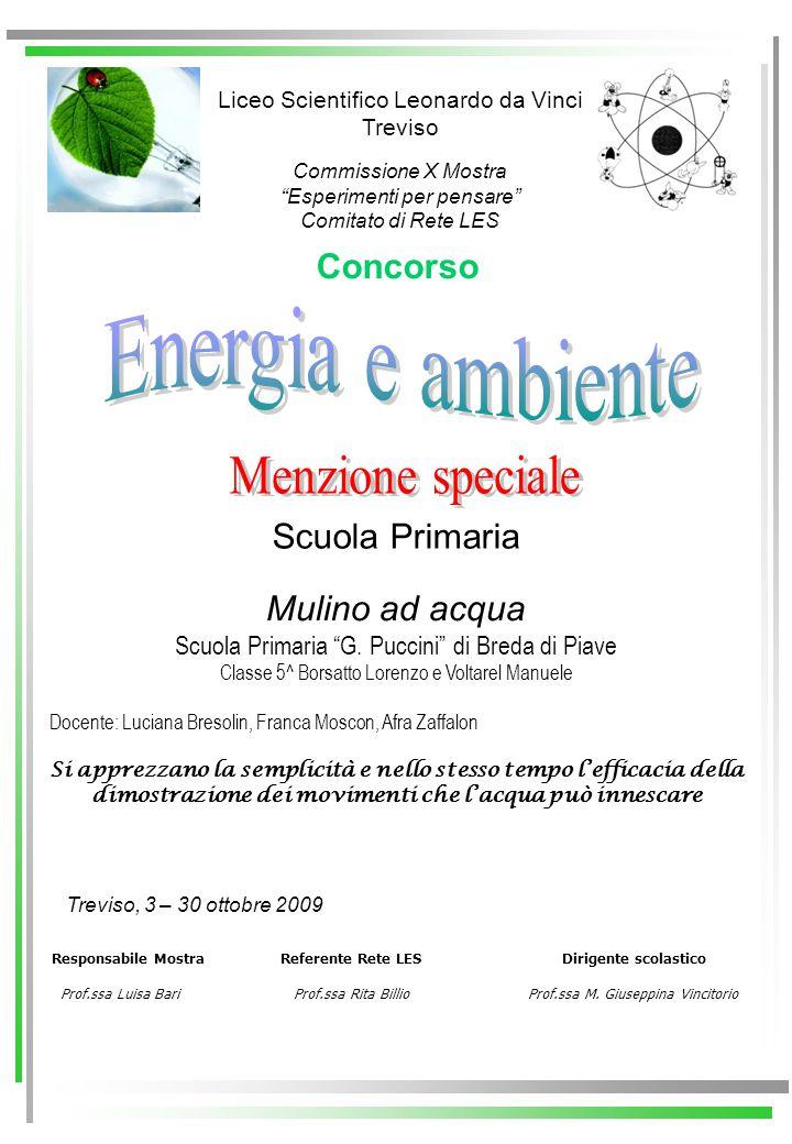 Energia e ambiente Menzione speciale Concorso Scuola Primaria