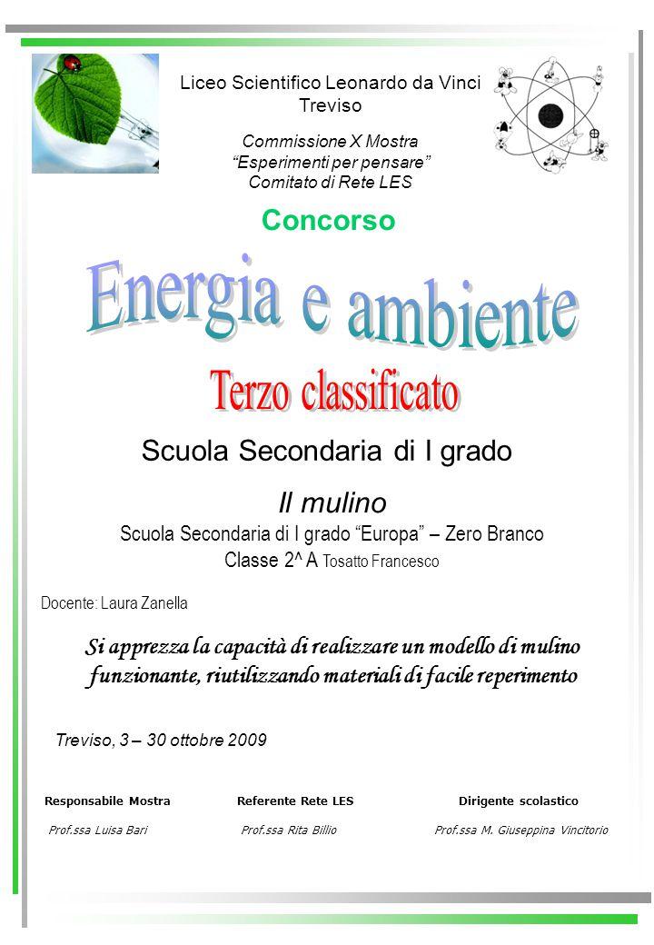 Energia e ambiente Terzo classificato Concorso