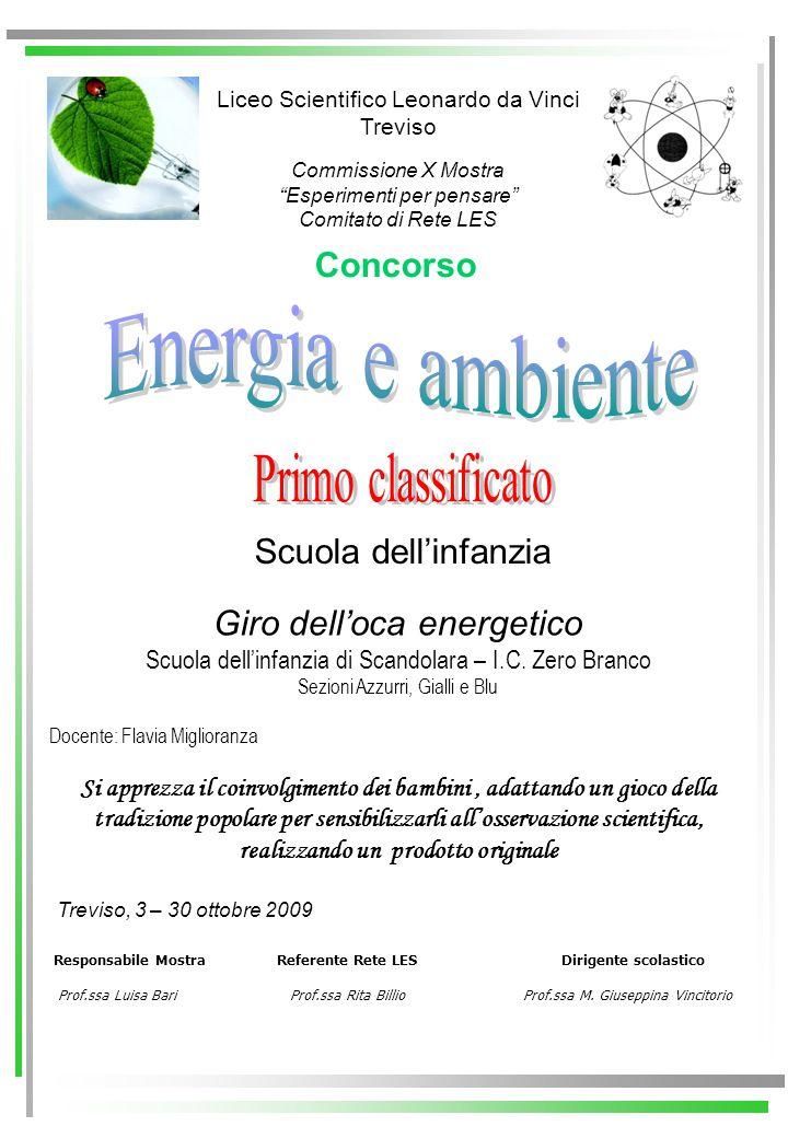 Energia e ambiente Primo classificato Concorso Scuola dell'infanzia