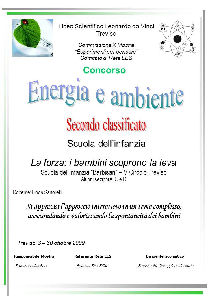 Energia e ambiente Secondo classificato Concorso Scuola dell'infanzia