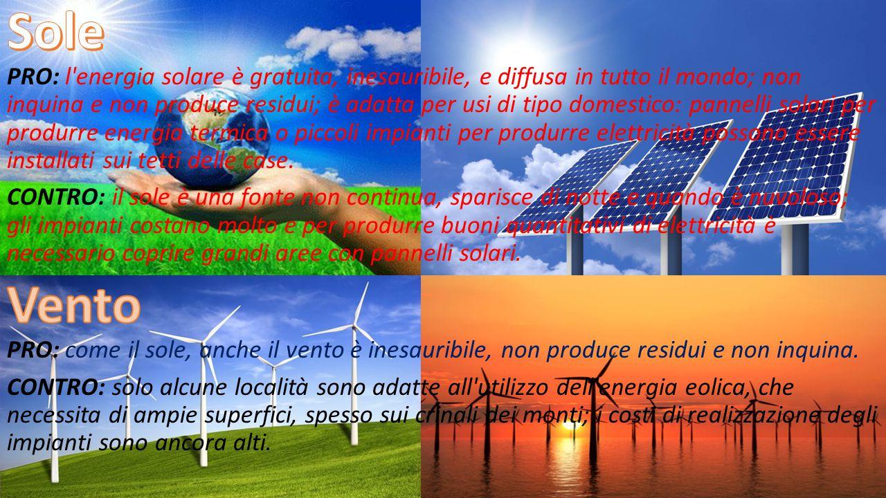 Sole PRO: l energia solare è gratuita, inesauribile, e diffusa in tutto il mondo; non inquina e non produce residui; è adatta per usi di tipo domestico: pannelli solari per produrre energia termica o piccoli impianti per produrre elettricità possono essere installati sui tetti delle case.