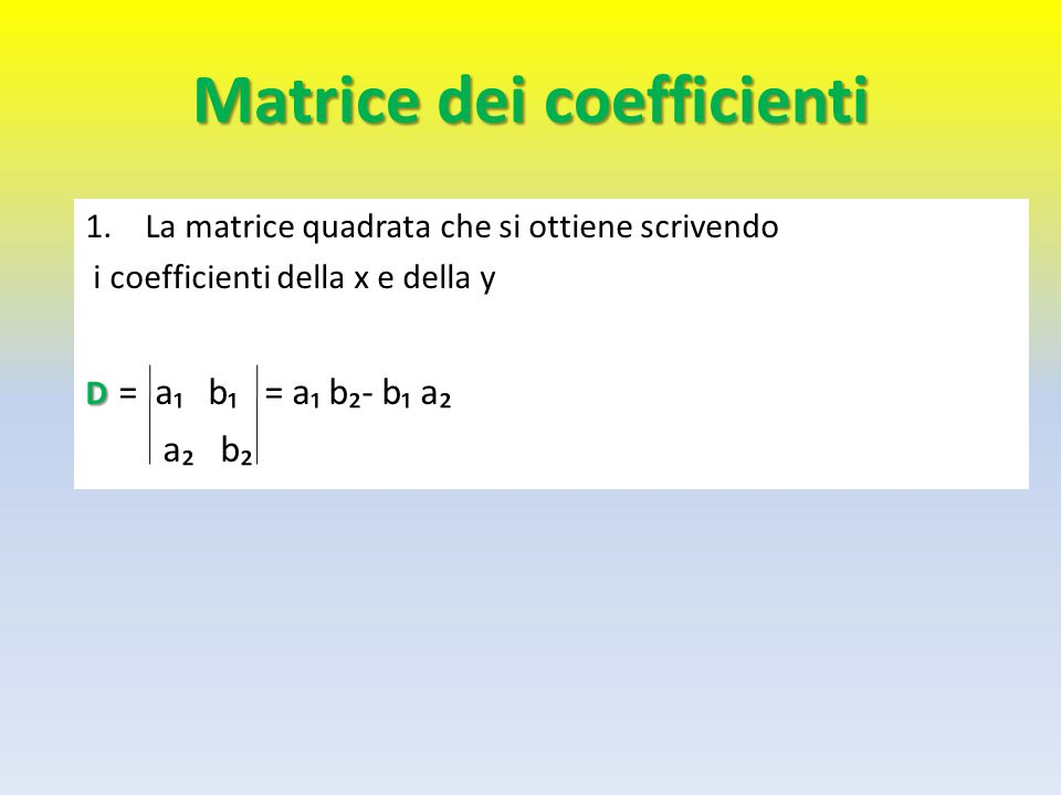Matrice dei coefficienti