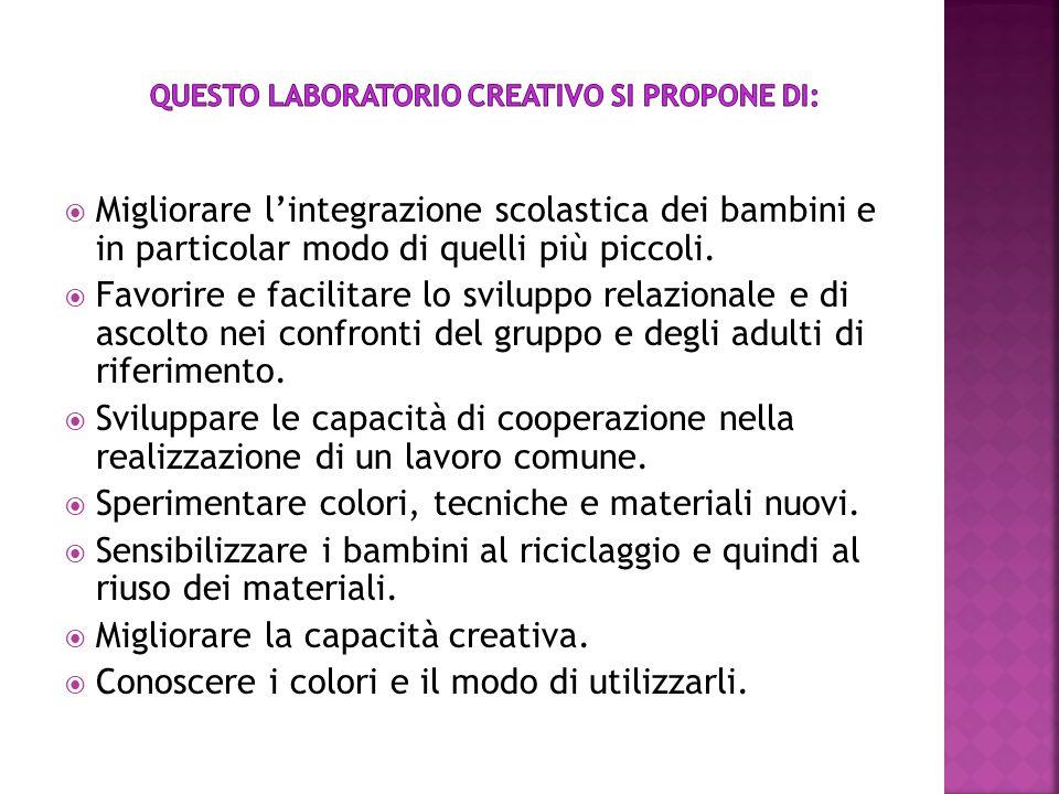 Questo laboratorio creativo si propone di: