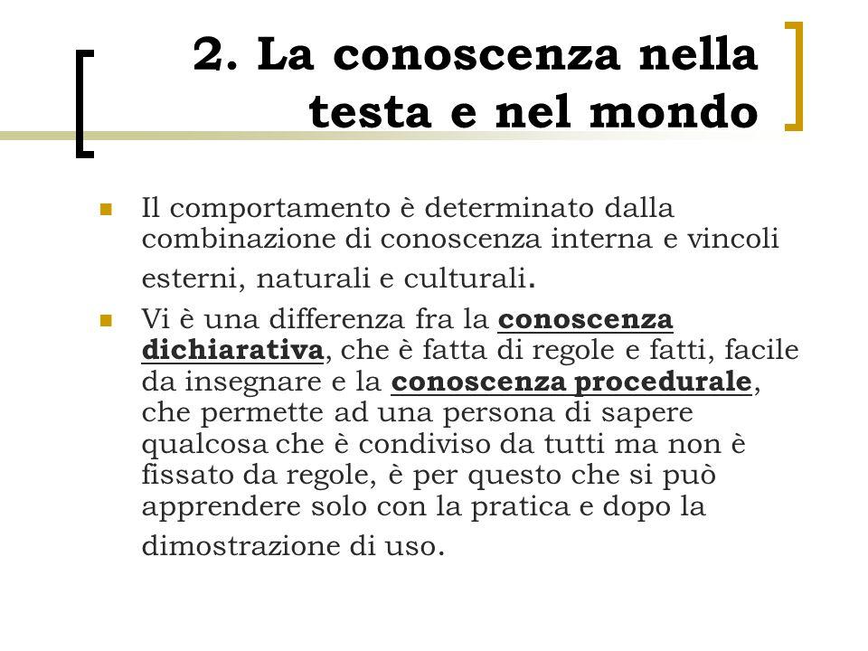 2. La conoscenza nella testa e nel mondo
