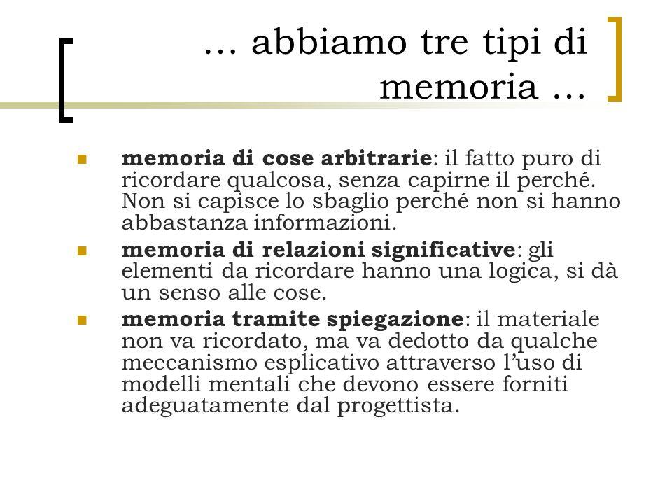 … abbiamo tre tipi di memoria …